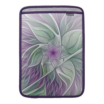 Flower Dream, Abstract Purple Green Fractal Art Sleeve For MacBook Air