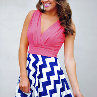 The Sarah Belle Dress: Coral/Navy | Hope's