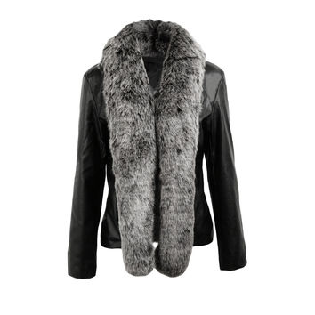 Women PU Leather Moto Jacket Open Front Faux Fur Collar Jacket Long Sleeve Biker Coat Black Jaqueta De Couro SM6