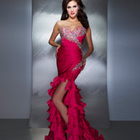 Mac Duggal Prom 2013- Fuchsia Gown With Ruffle Skirt - Unique Vintage - Cocktail, Pinup, Holiday & Prom Dresses.