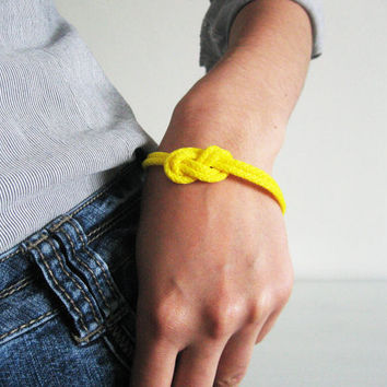 Neon rope bracelet- neon yellow nautical cord sailor's knot bracelet with golden end caps