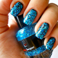 The Blue  Handblended blue glitter nail polish by urbanlacquer