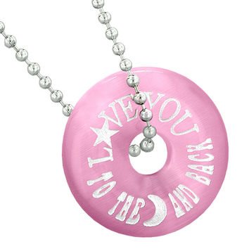 Inspirational Love You to the Moon and Back Amulet Lucky Donut Pink Simulated Cats Eye 22 Inch Necklace