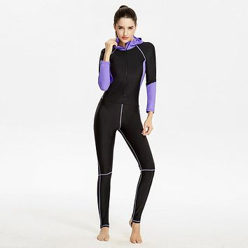 Newest  Wetsuits  Women  Sleeve  Warmth    piece  Swimsui