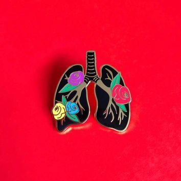 Anatomy Lungs Bloom Enamel Pin
