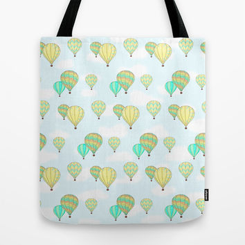 Hot Air Balloons Pattern Tote Bag by CandyBoxDigital