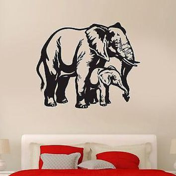 Wall Decal Elephants Animal India Africa Savanna Mural Vinyl Stickers Unique Gift (ed043)