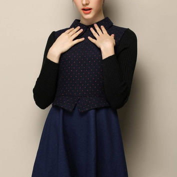 Blue Long Sleeve Pointed Flat Collar Pleated Mini Dress