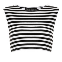 Petite Stripe Stretch Crop Top - Topshop USA