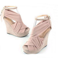 Silk Wedge Super High Fashion Ankle Strap Sandals