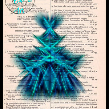 Blue Fractal/Apopthysis Art Brilliant Black Glow Vintage Dictionary Page Art Print Upcycled, Abstract Art Print