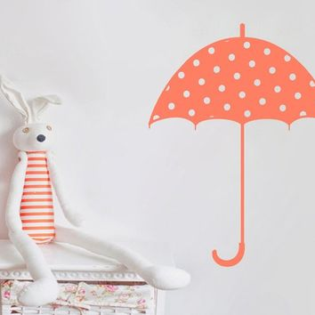 Polka Dot Rain Umbrella Vinyl Wall Decal Art Sticker