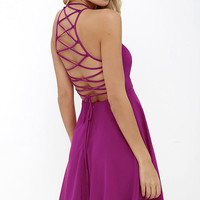 Good Deeds Magenta Lace-Up Dress