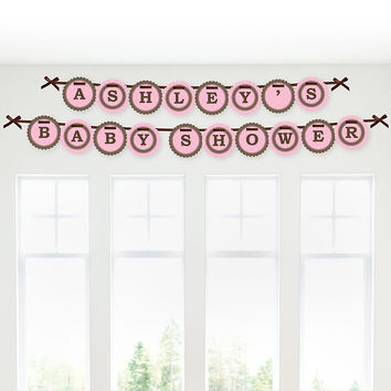 Mommy Silhouette It's A Girl - Personalized Baby Shower Garland Letter Banners