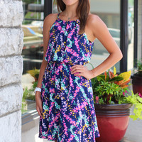 Floral Burst Dress {Navy}
