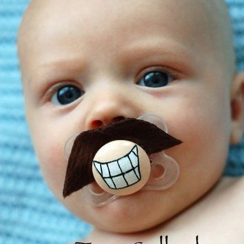 Tom Selleck Hand Cut Custom Mustache Pacifier by piquantdesigns