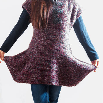 LVO-131  Reversible Cotton Swing Dress, Pull Over Tunic-Hand Crochet-Ready to Ship