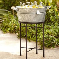 Galvanized Metal Large Party Bucket & Stand