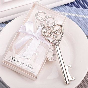 Youkwer 12 PCS Skeleton Silver Key Shaped Beer Bottle Cap Opener with Exquisite Packaging for Wedding Party Favors Gift amp Shiny DecorationsKey To My Heart Silver