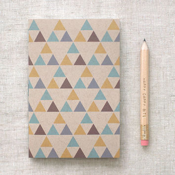 Geometric Sketchbook with Pencil - Brown Recycled Mini Pocket Size Journal - Triangle Pattern - Stocking Stuffer