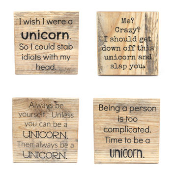 Unicorn Pallet wood coasters. Unique Wood coasters. Funny Coasters. Set of 4 Housewarming gift. Hostess gift