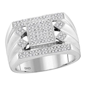 10kt White Gold Men's Round Diamond Square Center Cluster Ring 3/8 Cttw - FREE Shipping (US/CAN)