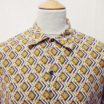 Vintage 80s LOTUS Amazing Art Geometric Indie Pattern Shirt 2XL