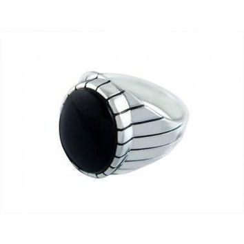 925 Sterling Silver Mens Oval Black Onyx Engraved Sides Classic Ring
