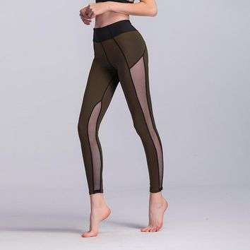 JIGERJOGER KHAKI Army green Yoga Pants side mesh panel patches High rise Dance ballet ballerina Performance studio workout pant