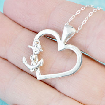 Sale Anchor Necklace - Anchor Pendant - Heart Pendant - Love Achors the Soul - Anchor Heart - Anchor Jewelry - Nautical Jewelry