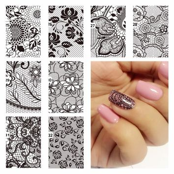 YZWLE 1 Pc DIY Nail Water Decals Lace Flower Designs Transfer Stickers Nail Art Sticker Tattoo Decals