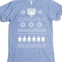 Happy Hanukkah Ugly Christmas Jewish Sweater T Shirt-T-Shirt