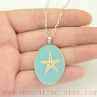 starfish necklace,nautical necklace,mint necklace,real starfish necklace,girlfriend necklace,friendship gift,oceantime
