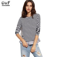 Dotfashion Navy And White Striped Top With Ruffle Trim Women Round Neck Long Sleeve Tees Cute Girl T-shirt