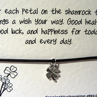 Good Luck Quote Card with Brown Leather Friendship Bracelet and Silver Plated 4 Leaf Clover Charm