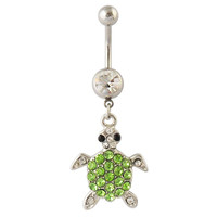 Belly Button Ring - Crystal CZ Green Turtle