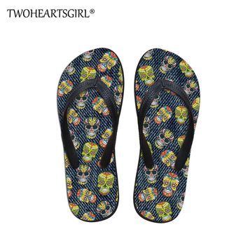 Men's Flip Flop Summer Beach Cool Denim Skull Printing Sandals