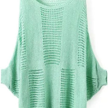 Mint Green Batwing Sleeve Loose Fitting Sweater with Grid Cut-Outs