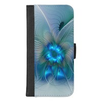 Standing Ovations, Abstract Blue Turquoise Fractal iPhone 8/7 Plus Wallet Case