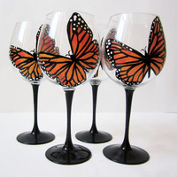 Monarch Butterfly wine glasses hand painted - set of 2 - 20 oz