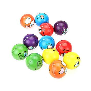 DCCKL3Z 12pcs/lot Modern FUN Emoji Face Squeeze Balls Stress Relax Emotional Hand Wrist Exercise Anti-stress Balls Toys for Children