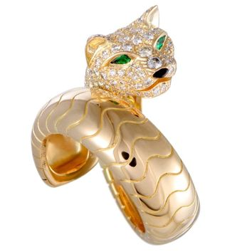 Cartier Panthere Diamond Emerald Onyx Yellow Gold Band Ring