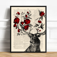 Deer Flower, Stag Print, Wife Gift, Gift for Him to 40, Red Rose Decor, Mother Xmas Gift, 7th Year Anniversary, Her 20th Birthday, 273