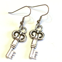 Key Charm Earrings - womens jewelry - silver charm earrings - silver key earrings