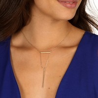 Gold Dainty Bar Pendant Necklace