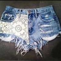 Jean Shorts With Lace