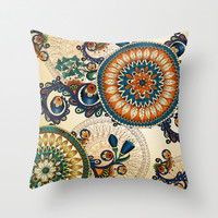 Indian Feather Pattern Throw Pillow by Robin Curtiss