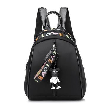 School Backpack trendy Fashion Women's Backpack Cute Bear Shoulder Bags s For Teenage Girls Little Bear Pendant Bagpack 979 AT_54_4