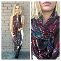 Wine Diamond Print Scarf
