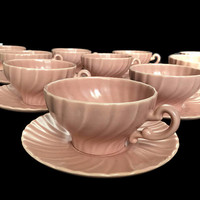Vintage Franciscan Coral Beige Matte 10 Cups and Saucers China California Mid Century Dinnerware Set Pink Swirl 1936-1954